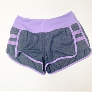 Lululemon lined running shorts purple grey size 4